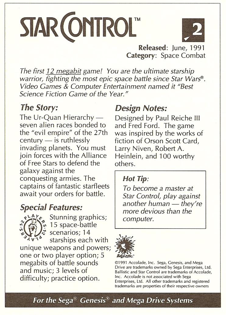 star controller star control promotional card rh starcontroller com Sega Genesis Game Cartridges Sega Genesis Maps